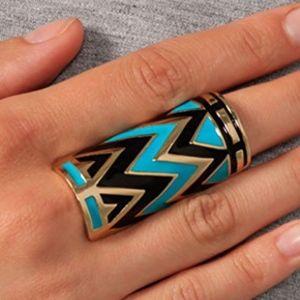 House of Harlow Enameled Tribal Wrap Ring